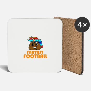 I Suck At Fantasy Football Poop Unicorn Emoji - Coasters