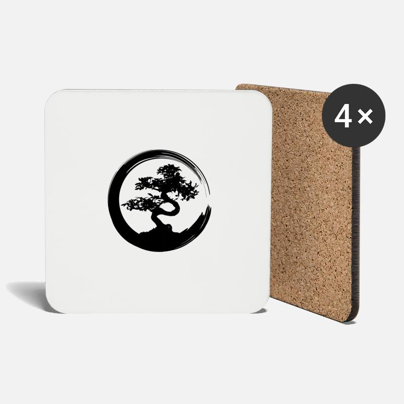 Aesthetic Mugs & Drinkware - Bonsai tree Japanese culture gift garden art - Coasters white