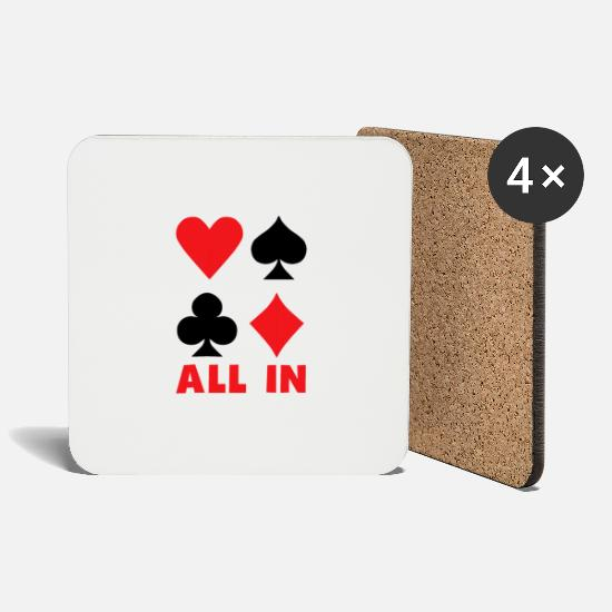 Playing Mugs & Drinkware - All In Card Playing Card Card Game Poker Gift - Coasters white