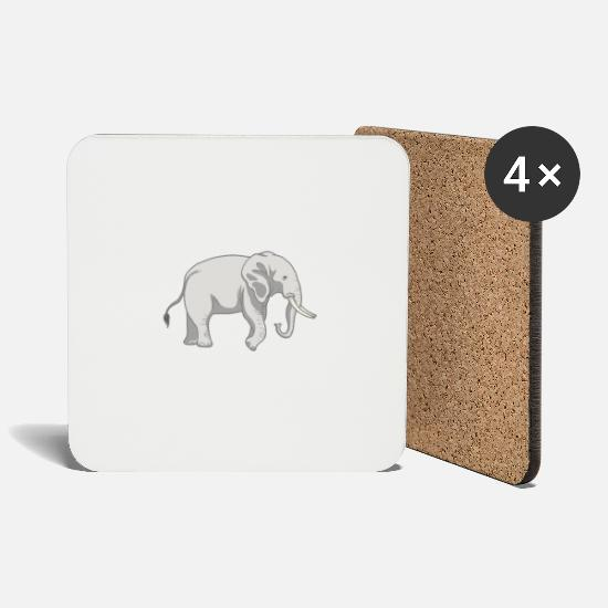 Animal Rights Activists Mugs & Drinkware - Elephant wild animals - Coasters white