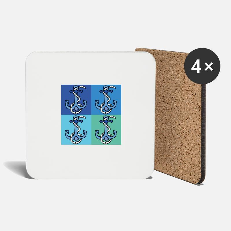 Anchor Mugs & Drinkware - 4 coordinated shades of blue with anchors - Coasters white