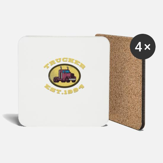 Love Mugs & Drinkware - Trucker Truck driver Highway 8 drive Transport - Coasters white
