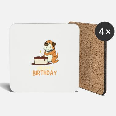 Unhappy Birthday dog unhappy pie - Coasters