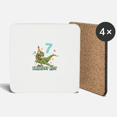 7th 7th Birthday Children's Birthday Seven 7th Dino - Coasters