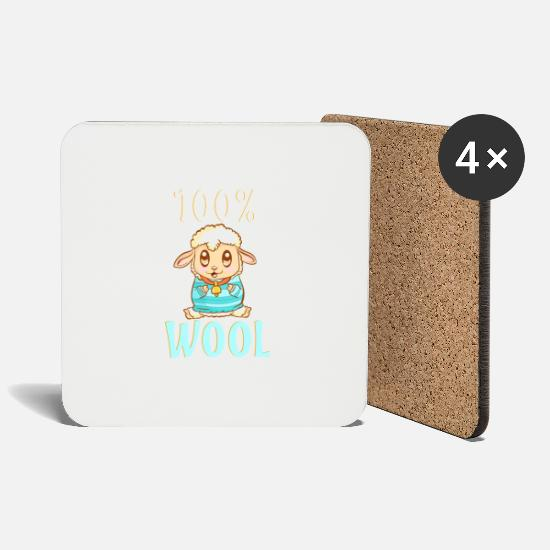 Wool Mugs & Drinkware - Cute & Funny 100% Wool Sheeps Are 100 Percent Wool - Coasters white