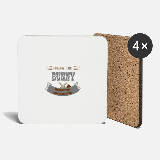 Easter Mugs & Drinkware - follow the bunny he has the chocolote easter bun - Coasters white