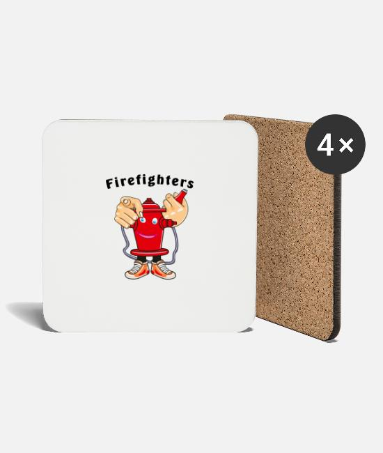 Fire Extinguisher Mugs & Drinkware - Fire hydrant hose shoes face Firefighters - Coasters white