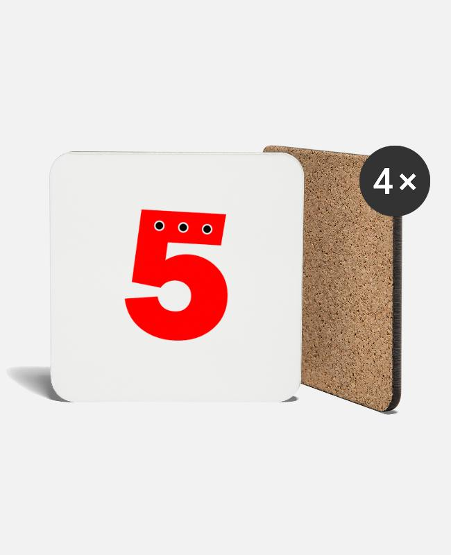 Numbers Mugs & Drinkware - Number 5 red - Coasters white