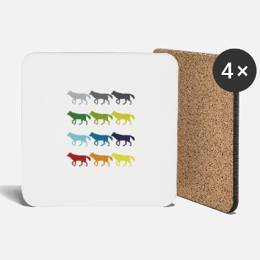 Carnivores Neon Pop Art Retro Wolf Animal Gift Idea - Coasters