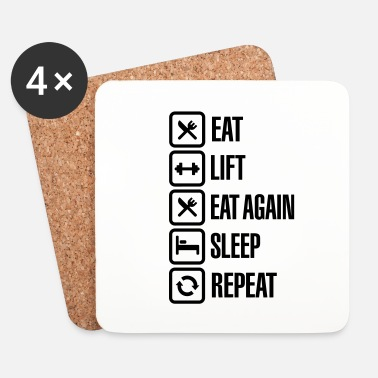 Lift Eat - Lift - Eat again - Sleep - Repeat - Dessous de verre (lot de 4)