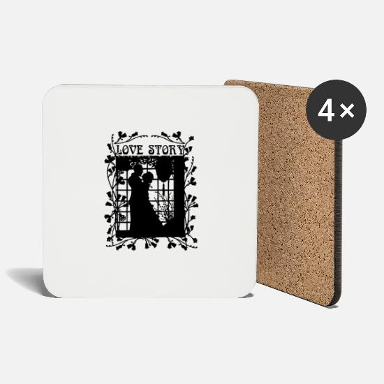 Love Mugs & Drinkware - Love story - Coasters white