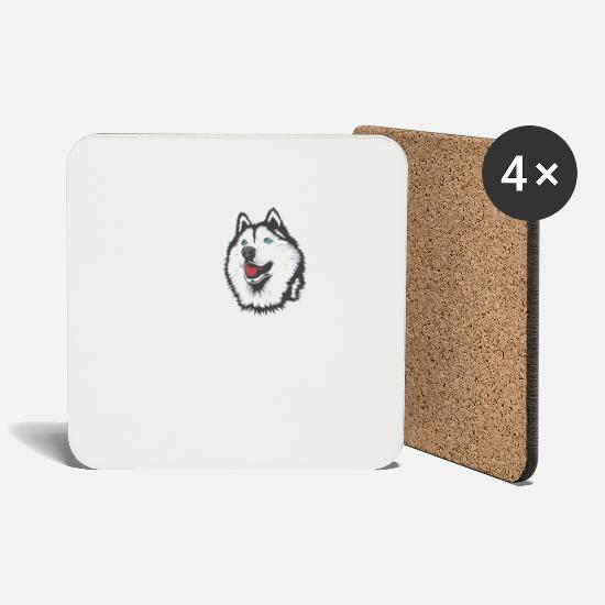 Love Mugs & Drinkware - Siberian Husky dog love sled dog gift - Coasters white