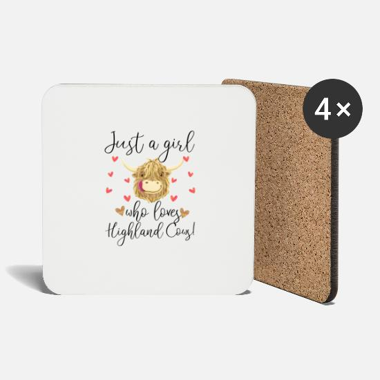 Gift Idea Mugs & Drinkware - Just a Girl Who Loves Highland Cows - Coasters white