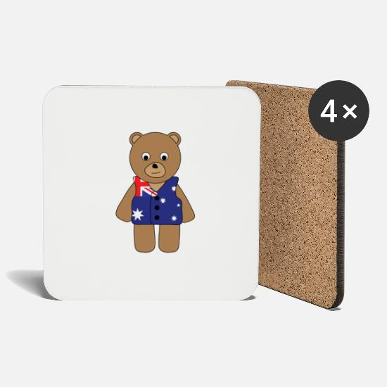 Flag Mugs & Drinkware - Aussie Bear.png - Coasters white