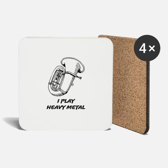 Brass Band Mugs & Drinkware - I Play Heavy Metal - Coasters white