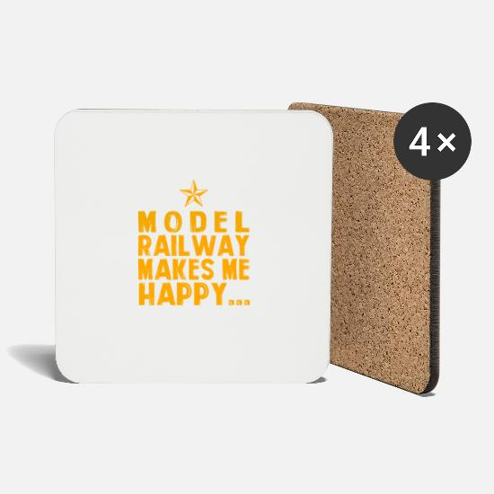 Railway Mugs & Drinkware - Model railway makes me happy - Coasters white