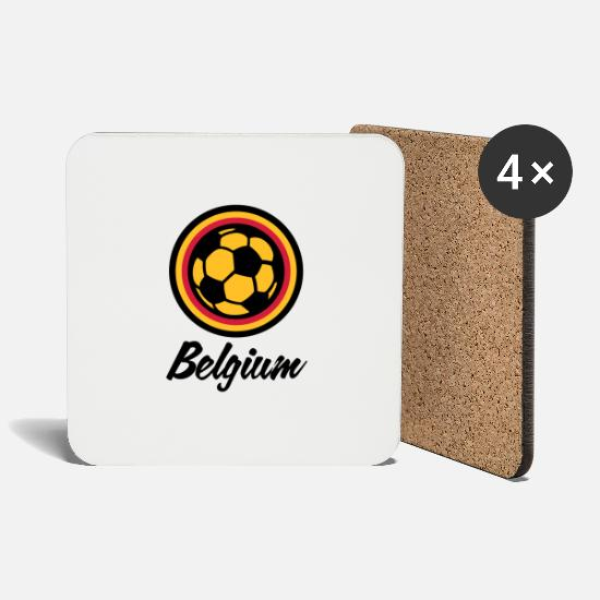 Soccer Mugs & Drinkware - Belgium Football Emblem - Coasters white