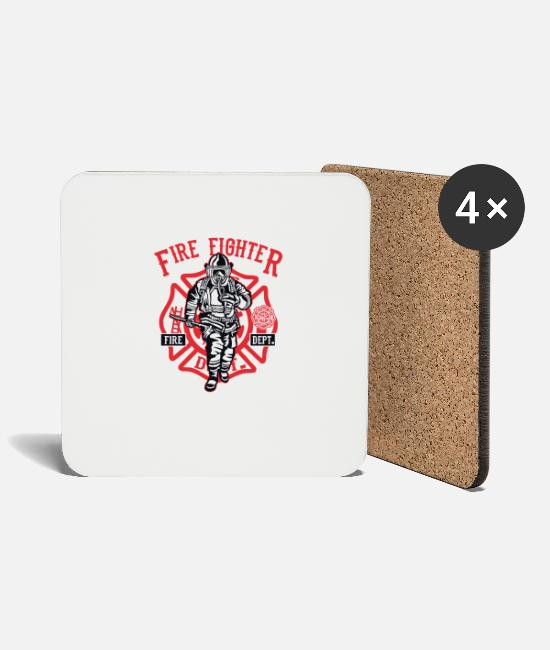 Christmas Mugs & Drinkware - Firefighter Firefighter Firefighter Christmas - Coasters white
