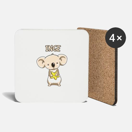 Birthday Mugs & Drinkware - Koala funny kid inge gift birthday copy - Coasters white