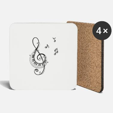 Music Clef with piano and music notes, i love music. - Coasters
