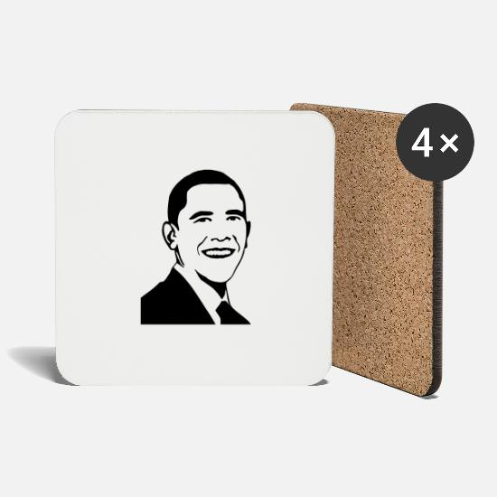 Politics Mugs & Drinkware - Barack Obama lookalike - Coasters white