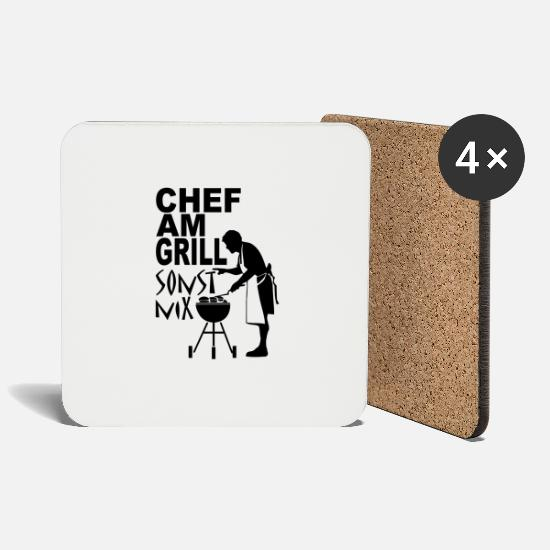 Grill Mugs & Drinkware - chef at the grill - nothing else - Coasters white