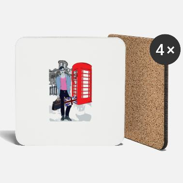 Red Phone Booth LONDON street Fashion - Coasters