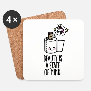 Toilet Beauty is a state of mind - toilet paper unicorn - Glasbrikker (sæt med 4 stk.)