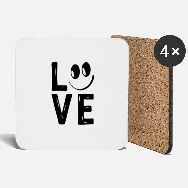 Love With Heart Love Smile Love Hearts Hearts Laugh Happy - Coasters