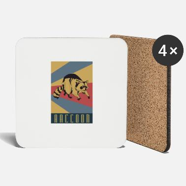 Raccoon Raccoon retro raccoon - Coasters