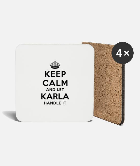Calm Mugs & Drinkware - keep calm and let karla handle it - Coasters white