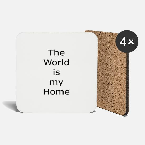 Save The World Mugs & Drinkware - The world is my home gift t shirt - Coasters white