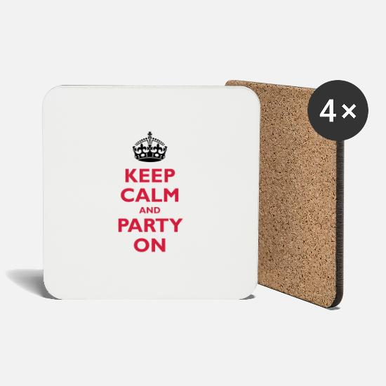 Single Mugs & Drinkware - Keep calm and party on - Coasters white