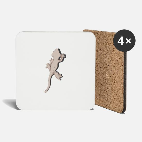 Crest Mugs & Drinkware - Crested gecko - Coasters white