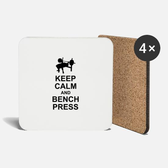 Strong Mugs & Drinkware - Keep Calm and Bench Press - Coasters white