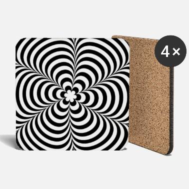 Geek &amp Optical illusion (Impossible) Black & White OP-Art - Coasters