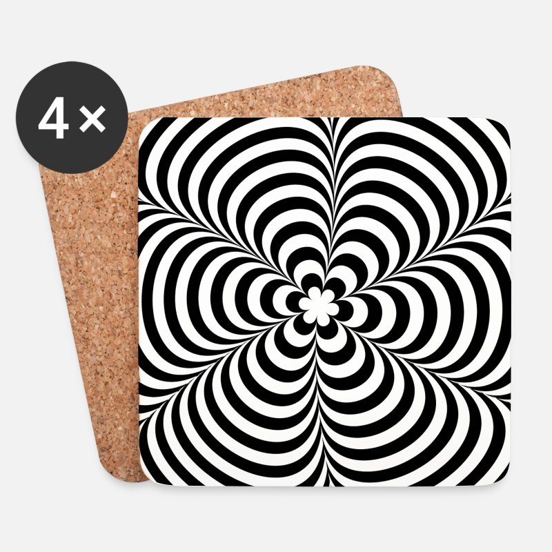 Trippy Mugs & Drinkware - Optical illusion (Impossible) Black & White OP-Art - Coasters white