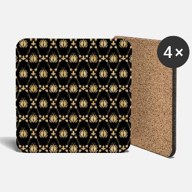 Luxury Golden vintage butterfly pattern - Coasters