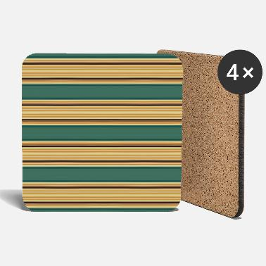 Rectangle elegant stripes with yellow green - Coasters