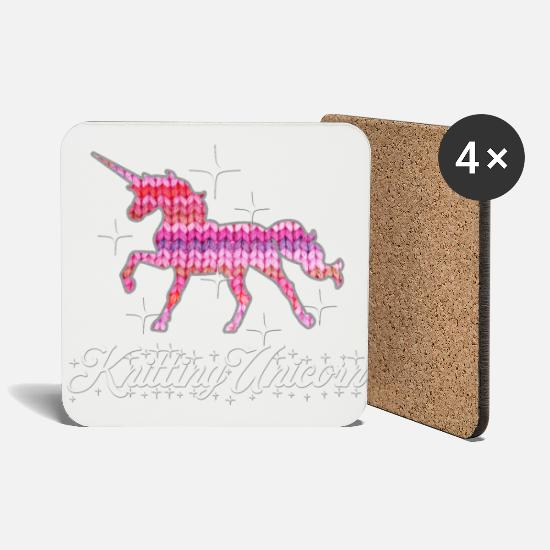 Love Mugs & Drinkware - Knitting unicorn Knitting Unicorn - Coasters white