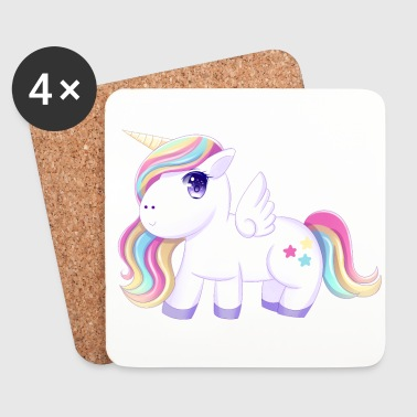 Super Cute Rainbow Unicorn - Coasters (set of 4)