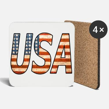 Kiss UNITED STATES! Great USA lettering! Great gift idea! - Coasters