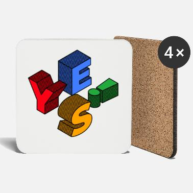 Ja Typography 3d yes! colors - Coasters