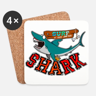 Mer Surf with shark - Dessous de verre (lot de 4)