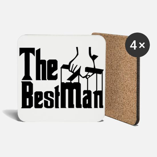 Stag Mugs & Drinkware - The Best Man. Stag Night. Stag Party. Bestseller. - Coasters white