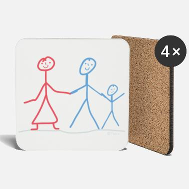 Stick Family stick figure son nephew grandson cousin - Coasters