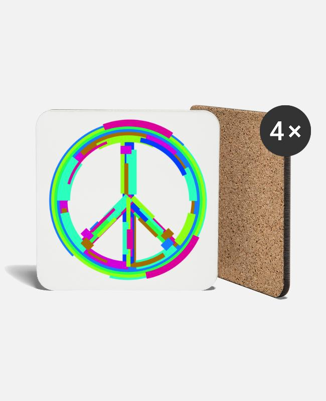 Peace For Paris Mugs & Drinkware - Modern art type peace sign symbol of peace - Coasters white