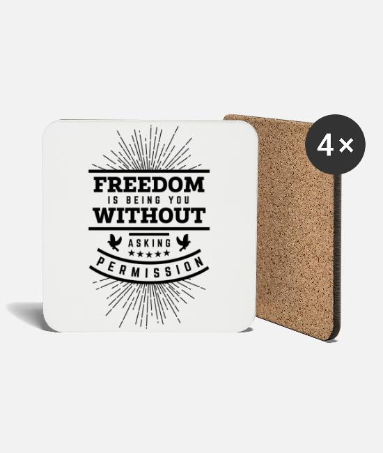 Patriot Mugs & Drinkware - Freedom Quote Black Cool gift - Coasters white