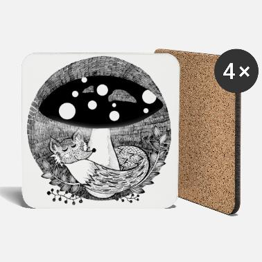 Fox illustration black and white - Coasters