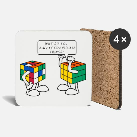 Geek Tazze & Accessori - Rubik's Cube Humour Complicate Things - Sottobicchieri bianco